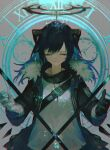 1girl absurdres arknights bangs black_jacket blue_hair closed_eyes commentary_request demon_horns fur_trim gloves hair_between_eyes halo highres horns jacket kenseeeeeeee long_hair long_sleeves mostima_(arknights) open_clothes shirt smile solo staff upper_body white_shirt