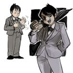1boy black_hair blue_eyes dc_comics gotham gotham_(series) looking_at_viewer open_mouth oswald_chesterfield_cobblepot ra7mu2ne short_hair simple_background smile solo