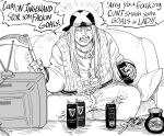 1boy axl_low bandana bb_(baalbuddy) beer_can can commentary crt english_commentary fingerless_gloves food gloves greyscale guilty_gear guinness_(beer) highres holding holding_weapon jacket male_focus monochrome open_clothes open_jacket open_mouth pants sitting solo sweat television toast weapon wide-eyed