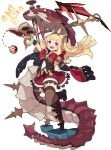 1girl arm_up artist_request bangle bangs belt black_footwear blonde_hair blunt_bangs blush book boots bow bowtie bracelet brooch brown_legwear brown_vest cagliostro_(granblue_fantasy) cape clenched_hand colored_sclera cube dragon electricity flat_chest frilled_skirt frills full_body gem granblue_fantasy hand_up happy highres holding holding_book impaled jewelry knee_boots leg_up long_hair looking_at_viewer miniskirt nail non-web_source official_art open_book open_mouth orange_sclera ouroboros_(granblue_fantasy) outstretched_arm red_cape red_neckwear red_skirt shiny shiny_hair shirt sidelocks skirt sleeveless sleeveless_shirt smile solo_focus standing standing_on_one_leg star_(symbol) teeth thigh-highs tiara transparent_background two-sided_cape two-sided_fabric vambraces vest violet_eyes white_shirt world_flipper yellow_eyes yellow_headwear zettai_ryouiki