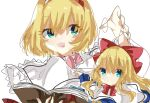 1girl :d alice_margatroid blonde_hair blue_eyes book bow capelet hair_bow hairband holding holding_book looking_at_viewer nishiki1225 open_book open_mouth puppet_strings shanghai_doll short_hair simple_background smile solo touhou upper_body white_background white_capelet