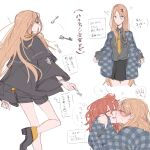 !? 2girls abigail_williams_(fate) alternate_costume blonde_hair blue_eyes blush closed_eyes facing_another fate/grand_order fate_(series) floating floating_object fujimaru_ritsuka_(female) hair_between_eyes highres hollomaru key kiss long_hair long_sleeves multiple_girls necktie older open_mouth orange_hair sketch sleeves_past_wrists solo_focus sweat thought_bubble translation_request very_long_hair white_background wide_sleeves yellow_neckwear yuri