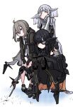 3girls android black_hair commentary_request cyborg eyepatch girls'_frontline gloves highres long_hair m200_(girls'_frontline) mechanical_arms mechanical_legs multiple_girls nyto_adeline_(girls'_frontline) nyto_alina_(girls'_frontline) paradeus pointing shoes sneakers stick white_hair zandorosouls