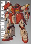 clenched_hands csg glowing glowing_eye gundam gundam_hathaway's_flash highres korean_commentary mecha messer_(mobile_suit) mobile_suit no_humans one-eyed science_fiction solo spikes standing violet_eyes
