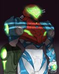 1girl arm_at_side arm_cannon armor dark_background glowing helmet highres metroid metroid_dread power_armor power_suit samus_aran solo sound_effects standing tabletorgy visor weapon