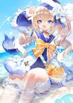 1girl arm_support arm_up bag bangs barbara_pegg beach blonde_hair blue_choker blue_eyes blue_sailor_collar blue_swimsuit bow choker detached_sleeves eyebrows_visible_through_hair flower genshin_impact hat highres long_hair mamuru ocean one-piece_swimsuit open_mouth outdoors partially_submerged sailor_collar sailor_hat shoulder sitting smile solo splashing swimsuit swimsuit_under_clothes thigh_strap twintails white_flower