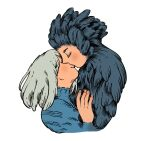 1boy 1girl birdfrogdraws black_feathers blue_dress closed_eyes dress grey_hair hand_on_another's_chest highres howl_(howl_no_ugoku_shiro) howl_no_ugoku_shiro kiss sophie_(howl_no_ugoku_shiro) white_background