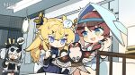 3girls ? animal_ears arknights black_hair black_shirt black_shorts blonde_hair blue_dress blue_eyes blush_stickers brown_hair chibi clothed_eyes copyright_name dress fang feater_(arknights) hair_over_one_eye headgear highres holding holding_brush holding_sewing_needle holding_tray id_card jacket kneeling leizi_(arknights) long_hair low_twintails multicolored multicolored_eyes multicolored_hair multiple_girls needle off_shoulder official_art open_clothes open_jacket open_mouth painting panda_ears purestream_(arknights) sewing sewing_needle shirt shorts spoken_question_mark tray twintails two-tone_hair visor_cap watermark white_dress white_hair white_jacket yellow_eyes