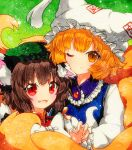 2girls animal_ears bangs blonde_hair blue_vest bow breasts brown_eyes brown_hair buttons cat_ears cat_tail chen closed_mouth dress duplicate eyebrows_visible_through_hair fox_ears fox_tail green_background green_headwear hair_between_eyes hand_up hat long_sleeves looking_at_viewer medium_breasts multicolored multicolored_eyes multiple_girls one_eye_closed open_mouth pixel-perfect_duplicate qqqrinkappp red_dress red_eyes shikishi short_hair smile tail touhou traditional_media vest white_bow white_dress white_headwear white_sleeves yakumo_ran yellow_eyes