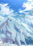 absurdres alolan_form alolan_ninetales blue_eyes closed_mouth clouds commentary_request day gen_7_pokemon highres looking_up mountain no_humans nullma outdoors pokemon pokemon_(creature) sky smile snowing solo