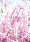 1girl absurdres bird bug butterfly commission danby_merong dress flower garden headdress highres holding holding_staff huge_filesize insect long_hair original pink_eyes pink_hair pink_theme rose solo staff swan winged_footwear