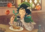 1boy androgynous apple bangs beret black_hair blue_hair bottle bow braid character_name closed_eyes closed_mouth collared_cape collared_shirt corset english_commentary english_text flower food food_on_face fork frilled_sleeves frills fruit genshin_impact gradient_hair green_headwear hair_flower hair_ornament hand_on_own_cheek hand_on_own_face happy_birthday hat holding holding_fork indoors leaf light_particles long_sleeves male_focus multicolored_hair plate shirt short_hair_with_long_locks smile symbol_commentary tongue tongue_out twin_braids venti_(genshin_impact) waffletop white_flower white_shirt window