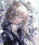 1girl :d blush brown_hair cacao_(chocotto) eyebrows_visible_through_hair fang flower glasses grey_eyes hair_flower hair_ornament hairclip highres long_hair long_sleeves looking_at_viewer open_mouth original smile solo