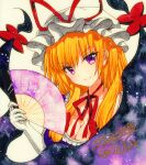 1girl bangs blonde_hair bow breasts dress eyebrows_visible_through_hair eyes_visible_through_hair fan gap_(touhou) gloves hair_bow hat holding holding_fan long_hair looking_at_viewer medium_breasts open_mouth purple_dress purple_sleeves qqqrinkappp red_bow red_neckwear shikishi short_sleeves simple_background smile solo touhou traditional_media violet_eyes white_background white_gloves white_headwear yakumo_yukari