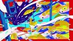 1girl aqua_footwear arm_up black_hair boots border dress highres jacket long_hair looking_at_viewer niwabuki open_mouth original red_border running solo umbrella white_dress wide_shot yellow_jacket yellow_umbrella