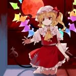 1girl bangs blonde_hair bow buttons collar commentary_request crystal flandre_scarlet frilled_collar frills hat kaigen_1025 kneeling laevatein light_smile mob_cap moon one_side_up puffy_short_sleeves puffy_sleeves red_bow red_eyes red_moon red_skirt red_vest short_hair short_sleeves side_ponytail skirt socks solo touhou vest waist_bow wavy_hair wings zun_(style)