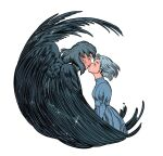 1boy 1girl bird_wings birdfrogdraws black_feathers blue_dress blush_stickers closed_eyes dress grey_hair hand_on_another's_chest highres howl_(howl_no_ugoku_shiro) howl_no_ugoku_shiro kiss looking_at_another sophie_(howl_no_ugoku_shiro) sparkle white_background wings