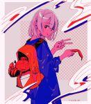 1girl backpack bag bangs blue_shirt crab eyebrows_visible_through_hair grey_hair holding long_sleeves looking_at_viewer niwabuki original red_bag red_eyes shirt short_hair signature solo