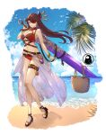 1girl absurdres bangle bangs bare_shoulders basket beach beidou_(genshin_impact) bir blue_lizz_penguin bracelet breasts brown_hair closed_mouth clouds cloudy_sky day earrings english_commentary eyepatch genshin_impact greatsword hair_ornament hair_over_one_eye hair_stick high_heels highres holding holding_sword holding_weapon jewelry large_breasts leaf long_hair looking_at_viewer navel ocean one_eye_covered outdoors red_eyes single_earring sky smile solo strap sword symbol_commentary tassel thigh_strap vision_(genshin_impact) water weapon