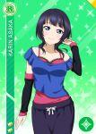 asaka_karin blue_eyes blue_hair character_name love_live!_nijigasaki_high_school_idol_club shirt short_hair smile