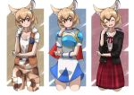 1girl african_giant_pouched_rat_(kemono_friends) animal_ears armor belt black_jacket blue_shirt blue_skirt blush bow bowtie brown_hair brown_pants brown_vest camouflage camouflage_pants cape character_request collarbone commentary_request copyright_request cowboy_shot extra_ears eyebrows_visible_through_hair fur_collar highres jacket kemono_friends kemono_friends_3 light_brown_hair mouse_ears mouse_girl mouse_tail multicolored_hair multiple_views official_alternate_costume open_clothes open_jacket pants pauldrons plaid plaid_skirt pleated_skirt red_cape red_eyes red_neckwear red_skirt school_uniform shirt short_hair short_sleeves shoulder_armor skirt t-shirt tail tanabe_(fueisei) vest white_fur white_hair white_shirt