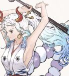 1girl armpits arms_up bangs blue_hair blurry breasts closed_mouth club commentary curled_horns depth_of_field earrings expressionless floating_hair gradient_hair grey_background hair_ornament hair_stick highres holding holding_weapon hoop_earrings horns japanese_clothes jewelry kanabou kimono long_hair medium_breasts mt10cat multicolored_hair one_piece parted_bangs ponytail red_eyes rope shimenawa sideboob sidelocks simple_background sleeveless sleeveless_kimono solo two-tone_hair upper_body wavy_hair weapon white_hair white_kimono yamato_(one_piece)