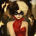 1girl absurdres bangs bare_shoulders black_hair blurry blurry_background breasts collarbone cruella_de_vil disney dress eye_mask highres looking_at_viewer multicolored_hair nongxy_nonshi red_dress red_lips small_breasts smile solo two-tone_hair upper_body white_hair