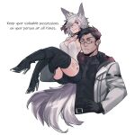 1boy 1girl :/ aio_(shuuko) animal_ear_fluff animal_ears bike_shorts black_footwear black_gloves black_hair black_legwear boots borrowed_character breasts carrying commentary cropped_torso english_commentary english_text fox_ears fox_girl fox_tail glasses gloves hand_on_hip high_heel_boots high_heels jewelry less medium_breasts multiple_tails original ring scar scar_on_face scar_on_nose short_hair silver_hair simple_background tail thigh-highs thigh_tattoo violet_eyes wedding_band white_background