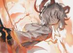 1girl animal_ears arknights black_gloves carnelian_(arknights) cheonyeon-hi dutch_angle fire gloves goat_ears goat_girl goat_horns hair_over_one_eye holding horns jacket looking_at_viewer red_eyes short_hair solo upper_body white_hair white_jacket