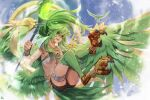 1girl anklet bangs bird bird_legs birdrawdream black_shorts breasts brown_gloves chinese_commentary clouds commentary_request english_commentary feathered_wings feathers flying gem gloves green_eyes green_feathers green_hair harpy highres holding holding_staff jewelry long_hair mixed-language_commentary monster_girl monsterification multiple_wings open_mouth shorts sidelocks sky small_breasts solo staff talons thigh_bands under_boob very_long_hair winda_priestess_of_gusto wings yu-gi-oh!