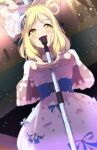 1girl :d bangs blonde_hair blue_ribbon blush braid buttons capelet choker corset crown_braid dress eyebrows_visible_through_hair floral_print flower flower_(symbol) hair_flower hair_ornament hair_rings highres jewelry love_live! love_live!_sunshine!! medium_hair microphone microphone_stand music ohara_mari open_mouth outstretched_hand pink_ribbon reflection ribbon sidelocks singing smile solo sophiaenju sparkle stage stage_lights swept_bangs white_dress yellow_eyes