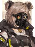 1girl absurdres breasts choker collarbone commission double_bun gas_mask girls'_frontline highres hood light_brown_hair mask mask_on_head medium_breasts p90_(girls'_frontline) red_eyes short_hair skeb_commission solo tawaketch