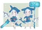 1girl absurdres alternate_weapon animal animal_costume animal_hood bangs bloop_(gawr_gura) blue_eyes blue_hair blue_hoodie blunt_bangs blush chainsaw chibi commentary_request dot_mouth english_commentary eyebrows_visible_through_hair fish fish_tail gawr_gura grin hammer hammerhead_shark hand_on_hip highres holding holding_weapon hololive hololive_english hood hood_up hoodie legs_apart long_hair long_sleeves looking_at_viewer multicolored_hair multiple_persona neru_(flareuptf1) outline pouch sawfish shark_costume shark_hood shark_tail simple_background smile standing streaked_hair tail torn_clothes two-tone_hair v-shaped_eyebrows virtual_youtuber war_hammer weapon white_hair white_outline wide_sleeves