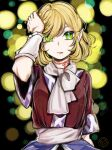 1girl arm_warmers bangs blonde_hair blood blood_from_mouth breasts brown_shirt commentary crying crying_with_eyes_open green_eyes hair_between_eyes hand_on_own_head hiroshige_36 looking_at_viewer medium_breasts mizuhashi_parsee open_mouth pointy_ears sash scarf shirt short_hair short_sleeves slit_pupils solo tears touhou upper_body white_sash white_scarf