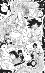 3girls 6+boys abs announcer_(dragon_ball) arms_at_sides aura bald bangs beard black_background black_eyes black_hair black_neckwear blood blood_on_face blunt_bangs bulma cane chi-chi_(dragon_ball) china_dress chinese_clothes clenched_hand closed_mouth clothes_writing clouds cloudy_sky collarbone crossed_arms dirty dirty_face dragon dragon_ball dragon_ball_(classic) dragon_ball_(object) dress earrings electricity eyelashes facial_hair fingernails frown grin happy highres horns jewelry kuririn lipstick long_hair looking_at_viewer looking_up lunch_(dragon_ball) makeup monochrome multiple_boys multiple_girls muscular muscular_male mustache muten_roushi necktie no_pupils official_art oolong paws puar scar scar_on_cheek scar_on_face serious sharp_teeth shenlong_(dragon_ball) shirtless sidelocks simple_background sky smile son_goku spaghetti_strap spiky_hair sunglasses teeth tenshinhan thick_eyebrows third_eye toriyama_akira weapon whiskers yajirobe yamcha