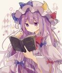 ! 1girl argyle bangs blue_bow book bow bowtie cowboy_shot crescent crescent_pin dress eyebrows_visible_through_hair hair_bow hat hat_ribbon hexagram holding holding_book long_hair long_sleeves mina_(sio0616) mob_cap multiple_bows open_book open_mouth patchouli_knowledge purple_dress purple_hair purple_headwear red_bow red_neckwear ribbon sidelocks solo spoken_exclamation_mark striped striped_dress touhou violet_eyes wide_sleeves