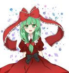 1girl bangs black_bow bow collar crystal dress dress_bow eyebrows_visible_through_hair eyes_visible_through_hair gradient gradient_dress green_eyes green_hair hair_bow jewelry kagiyama_hina lineart long_hair looking_at_viewer open_mouth puffy_short_sleeves puffy_sleeves red_bow red_dress red_sleeves short_sleeves smile solo touhou white_background white_collar