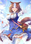 1girl :d ahoge akashio_(loli_ace) animal_ears bag bangs between_breasts blue_skirt blue_sky blue_vest blush breasts brown_hair clouds commentary_request confetti eyebrows_visible_through_hair frilled_shirt_collar frills gloves hair_between_eyes hairband highres horse_ears horse_girl horse_tail lace-trimmed_skirt lace_trim large_breasts lens_flare long_sleeves looking_at_viewer meisho_doto_(umamusume) multicolored_hair open_mouth outstretched_arms pink_hairband shirt short_hair skirt sky smile solo strap_between_breasts tail thigh-highs two-tone_hair umamusume vest violet_eyes white_gloves white_hair white_shirt