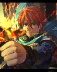1boy armor bad_id bad_twitter_id blue_cape blue_eyes cape durandal_(fire_emblem) eliwood_(fire_emblem) fire fire_emblem fire_emblem:_the_blazing_blade fire_emblem_heroes flaming_sword flaming_weapon frown highres kometubu0712 looking_at_viewer male_focus redhead shoulder_armor solo sword weapon