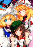 3girls bangs blonde_hair blue_background blue_eyes blue_vest bow breasts brown_hair chen closed_mouth dress eyebrows_visible_through_hair eyes_visible_through_hair frills gap_(touhou) green_headwear hair_bow hands_together hat hat_bow long_hair long_sleeves looking_at_viewer medium_breasts multicolored multicolored_eyes multiple_girls one_eye_closed open_mouth pink_eyes puffy_short_sleeves puffy_sleeves purple_vest qqqrinkappp red_bow red_dress short_hair short_sleeves simple_background smile touhou traditional_media vest violet_eyes white_bow white_dress white_headwear white_sleeves yakumo_ran yakumo_yukari