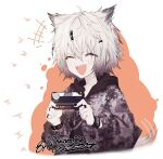 +++ 1girl :d animal_ears arknights bangs chain_necklace closed_eyes grey_eyes grey_jacket hair_ornament hairclip highres holding jacket lappland_(arknights) long_sleeves milestone_celebration official_alternate_costume open_clothes open_jacket open_mouth print_jacket runamonet scar scar_across_eye sharp_teeth short_hair silver_hair smile solo tail teeth twitter upper_body upper_teeth wolf_ears wolf_girl wristband