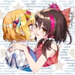 2girls alice_margatroid bangs blonde_hair blue_dress blue_hair bow breasts broken_heart brown_eyes brown_hair capelet commentary_request cookie_(touhou) cropped_torso dress fairyfloss frilled_bow frills grey_background hair_bow hairband hakurei_reimu half_updo hand_on_another's_shoulder hinase_(cookie) kanna_(cookie) long_hair looking_at_another medium_breasts multicolored_hair multiple_girls open_mouth red_bow red_hairband red_neckwear red_shirt redhead shiny shiny_hair shirt short_hair sleeveless sleeveless_shirt star_(symbol) streaked_hair touhou two-tone_hair upper_body white_capelet yuri