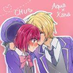 1boy 1girl arima_kana bangs blonde_hair blush hat hoshino_aquamarine huuuku kiss looking_down oshi_no_ko pink_background red_eyes redhead ribbon school_uniform surprised uniform