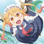 1girl absurdres album_cover aozora_no_rhapsody cd_(source) cover day disc_cover dragon_girl dragon_tail flying gradient_hair highres horns kobayashi-san_chi_no_maidragon maid multicolored_hair official_art orange_hair outdoors red_eyes slit_pupils solo tail tohru_(maidragon) wings