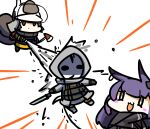 1other 2girls animal_ears arknights axe black_gloves black_jacket blush brown_hair chibi commentary_request expressionless fire_helmet fire_jacket firefighter full_body gloves helmet holding holding_axe holding_weapon hood jacket kagami_kino long_hair long_sleeves multiple_girls open_mouth purple_hair rabbit_ears reunion_soldier_(arknights) rope_(arknights) shaw_(arknights) smile squirrel_girl squirrel_tail sword tail water_stream weapon white_background