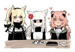 3girls anger_vein animal_ears aogisa arknights armor black_jacket blonde_hair blush box candy chibi extra_ears eyebrows_visible_through_hair food gravel_(arknights) headset heart highres horse_ears implied_extra_ears jacket long_hair mouse_ears mouse_girl mouse_tail multiple_girls nearl_(arknights) off_shoulder open_mouth pink_hair plate platinum_(arknights) ponytail simple_background tail triangle_mouth upper_body very_long_hair white_background white_hair yellow_eyes
