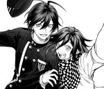 2boys :d ahoge arm_hug bangs buttons checkered checkered_neckwear checkered_scarf danganronpa_(series) danganronpa_v3:_killing_harmony double-breasted gakuran greyscale hand_on_hip happy hat hat_removed headwear_removed inoue_(4inlog) long_sleeves looking_at_viewer lower_teeth messy_hair monochrome multiple_boys open_mouth ouma_kokichi reaching_out saihara_shuuichi scarf school_uniform simple_background smile striped_jacket sweatdrop upper_body