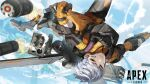 1girl apex_legends bodysuit brown_eyes controller copyright_name firing flying highres holding jetpack joystick logo mechanical_wings missile_pod olympus_(apex_legends) parted_lips science_fiction short_hair silver_hair sky smile smoke solo sukocchi upside-down valkyrie_(apex_legends) wings yellow_bodysuit