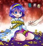 1girl bangs blue_eyes blue_hair blush bound bug cape card centipede coin crying gold hairband money open_mouth pote_(ptkan) rainbow scared short_hair solo tears tenkyuu_chimata tied_up touhou white_cape zipper