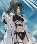 1girl absurdres antenna_hair arknights bare_shoulders bikini black_bikini breasts commentary_request cowboy_shot crocodilian_tail cup drink gavial_(arknights) green_hair green_nails highleg highleg_bikini highres holding holding_cup long_hair looking_to_the_side medium_breasts multiple_straps nail_polish navel ponytail solo stomach swimsuit thigh_strap thighs twitter_username under_boob uyuu_(hirameki) visor_cap yellow_eyes